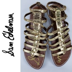 Sam Edelman Gold Faux Snakeskin Sandals